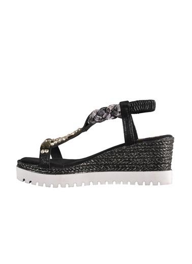 Mhd Mhd Taşlı Simli Dolgu Topuk Kadın Sandalet Siyah